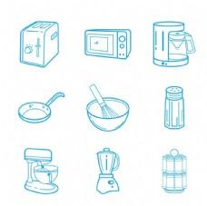 厨房电器矢量线图