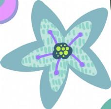 五角星卡通花朵树叶矢量素材