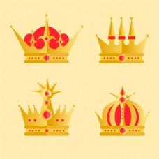 红色元素金色皇冠矢量素材