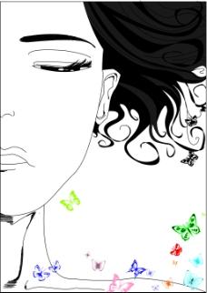 女人与蝴蝶插画