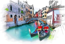手绘威尼斯景观矢量素材下载