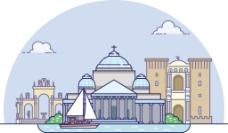 扁平手绘那不勒斯城市