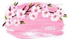 水彩绘桃花矢量素材