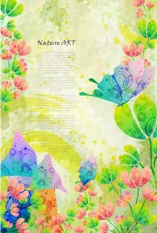 矢量彩色花卉蘑菇背景