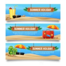 三种写实的夏季海滩横幅背景