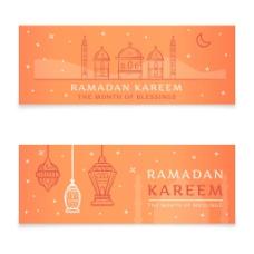 伊斯兰元素图案斋月横幅广告