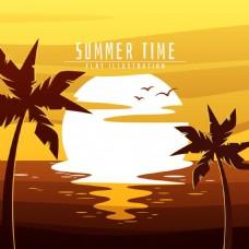 太阳棕榈树的夏天背景