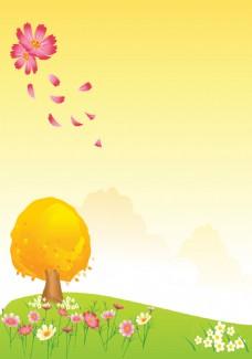 卡通小树花草背景