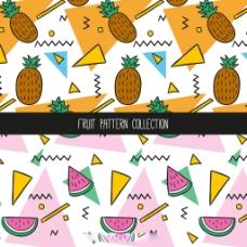 菠萝西瓜装饰图案矢量素材