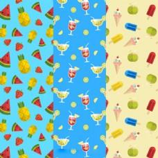 夏天元素饮料水果冰淇淋装饰图案