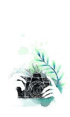 绿色数码电子产品相机商业手绘促销海报背景