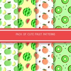 四个扁平风格的水果图案