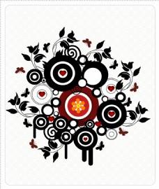 矢量圆形花纹花卉背景设计