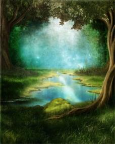 湖水光斑树林背景图片