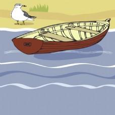 夏季小船鸽子手绘背景