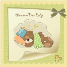 卡通小熊睡觉信纸背景