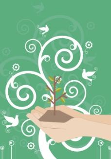 保护绿色植物线条绿色背景