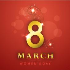 妇女节梦幻红色背景