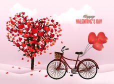 自行车浪漫情人节心和树矢量图