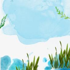 水彩小草背景图