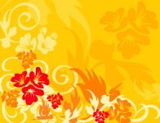 金色花卉花纹背景