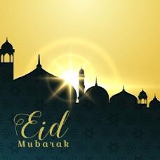 开斋节清真寺升起的太阳背景