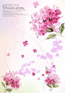 粉色花卉元素装饰背景