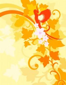 鸟儿树叶花纹背景图案