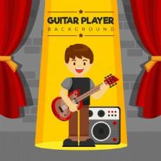 快乐的人弹吉他平面设计背景