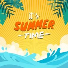 漂亮夏天海滩棕榈树背景