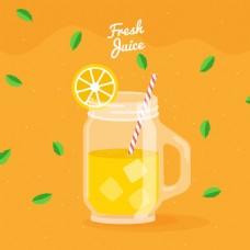 扁平风格橙汁背景