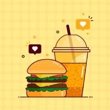 手绘汉堡包饮料黄色背景