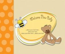 手绘泰迪熊蜜蜂婴儿派对背景