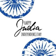 印度独立日水彩背景矢量素材下载