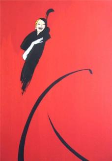红底黑色女装设计图