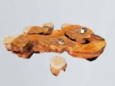 中式原木根雕茶海、茶台3D模型带贴图下载
