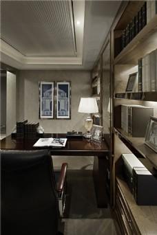 现代美式书房装修效果图
