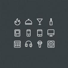 手机常用扁平化的细线系统软件常用图标