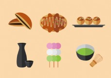 扁平化日本美食素材