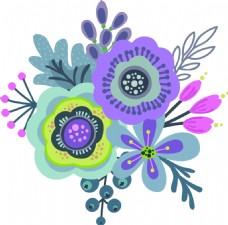 紫色卡通花朵矢量素材
