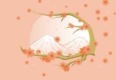 日本富士山桃花插画