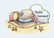 手绘夏天沙滩插画