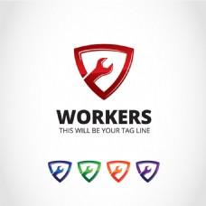 创意工人工具标志设计