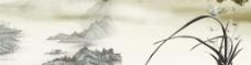 古典风水墨兰花图