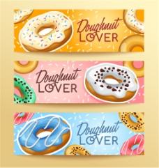 甜甜圈横幅设计矢量素材下载
