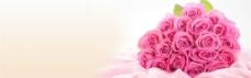 手捧粉色玫瑰花背景图