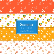 手绘各种夏天元素装饰图案