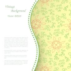黄色素雅花朵图案背景矢量素材下载