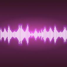 手绘闪亮的声波紫色背景