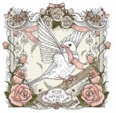 玫瑰和鸽子背景